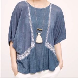 • ANTHROPOLOGIE • akemi blue embroidered top